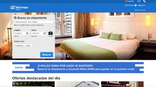 Air Europa guests are now able to book accommodation deals via ESP connection